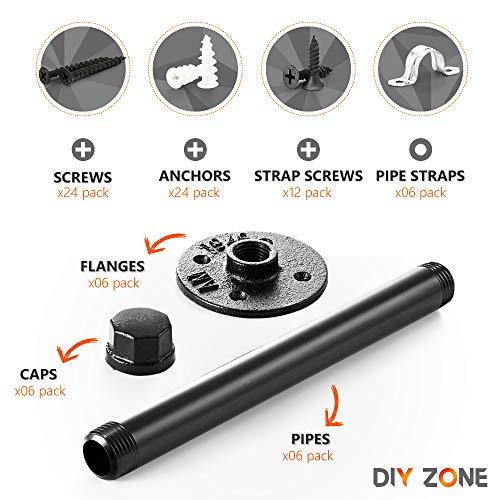 Pipe Bracket 6 Pcs Black Steel Industrial DIY Pipe Shelf Bracket For Wood Floating Shelf Vintage Look Rustic Pipe Decor Wall Mount With All Accessories Needed Shelf Not Included 6 0 0
