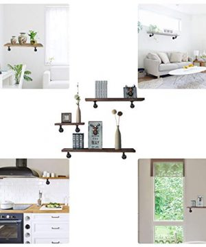 Pipe Shelf Brackets Set Of 6 EQUASON Industrial Iron Pipe Brackets Rustic Wall Mounted DIY Pipe Shelving Brackets Hanging Custom Floating Shelves Brackets Black Hardware Included 0 3 300x360
