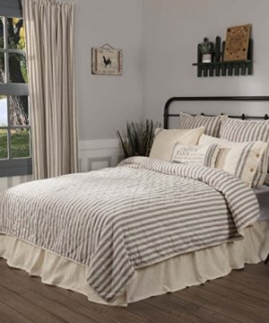 Piper Classics Market Place Ticking Stripe Quilt Queen 90 X 90 Grey Cream Quilted Modern Country Farmhouse Style Bedding 0 300x360