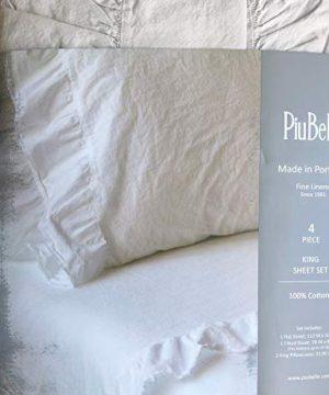 Piubelle Solid Light Gray Sheet Set Shabby Chic French Country Cottage Style Ruffled Frayed Fringe Along Hem 100 Cotton Luxury King 0 1 300x360