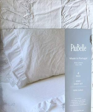 Piubelle Solid Light Gray Sheet Set Shabby Chic French Country Cottage Style Ruffled Frayed Fringe Along Hem 100 Cotton Luxury King 0 300x360