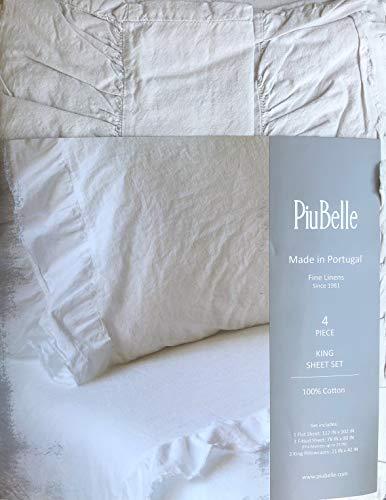 Piubelle Solid Light Gray Sheet Set Shabby Chic French Country Cottage Style Ruffled Frayed Fringe Along Hem 100 Cotton Luxury King 0