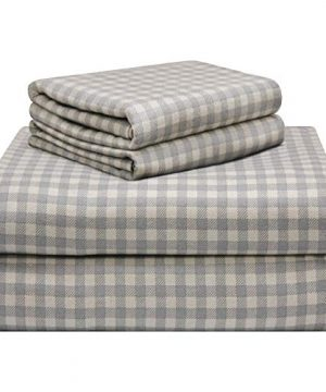 Pointehaven 180 GSM Luxury Cotton Printed Flannel Sheet Set Queen Farmhouse Plaid 0 300x360