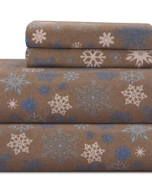 Pointehaven Heavy Weight Printed Flannel Sheet Set King Snow FlakesTan 0 300x357