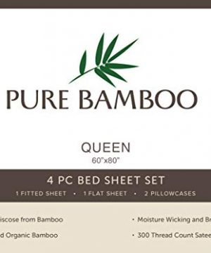 Pure Bamboo Sheets Queen Size Bed Sheets 4 Pc Set 100 Organic Bamboo Incredibly Soft Fits Up To 16 Mattress 1 Fitted Sheet 1 Flat Sheet 2 Pillowcases Queen Stripes 0 1 300x360