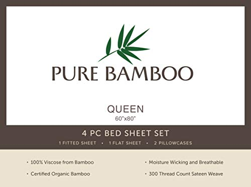 Pure Bamboo Sheets Queen Size Bed Sheets 4 Pc Set 100 Organic Bamboo Incredibly Soft Fits Up To 16 Mattress 1 Fitted Sheet 1 Flat Sheet 2 Pillowcases Queen Stripes 0 1