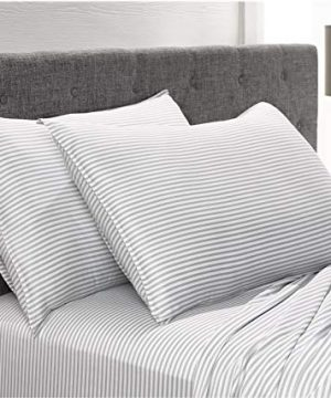 Pure Bamboo Sheets Queen Size Bed Sheets 4 Pc Set 100 Organic Bamboo Incredibly Soft Fits Up To 16 Mattress 1 Fitted Sheet 1 Flat Sheet 2 Pillowcases Queen Stripes 0 3 300x360