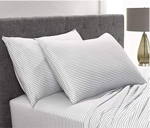 Pure Bamboo Sheets Queen Size Bed Sheets 4 Pc Set 100 Organic Bamboo Incredibly Soft Fits Up To 16 Mattress 1 Fitted Sheet 1 Flat Sheet 2 Pillowcases Queen Stripes 0 3