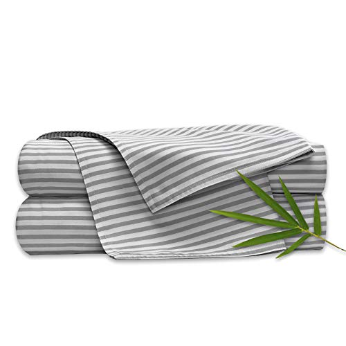 Pure Bamboo Sheets Queen Size Bed Sheets 4 Pc Set 100 Organic Bamboo Incredibly Soft Fits Up To 16 Mattress 1 Fitted Sheet 1 Flat Sheet 2 Pillowcases Queen Stripes 0