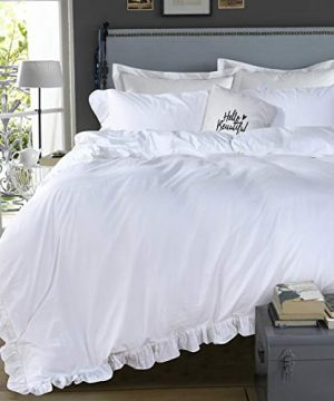 Queens House 3 Pieces Duvet Cover Set Washed Cotton White Ruffled Duvet Quilt Cover With Zipper Bedding Set King Size Shabby RuffleWhite 0 300x360