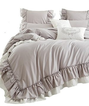 Queens House Cotton Duvet Cover Taupe Bedding Set King Size 0 300x360