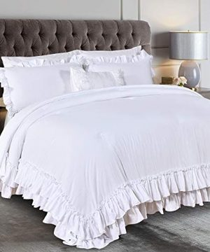 Queens House Farmhouse Ruffled Comforter Set White FullQueen 0 300x360