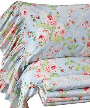 Queens House French Country Floral Bed Sheet Sets Ruffle Cotton Deep Pocket Set Queen Size Style O 0 300x360