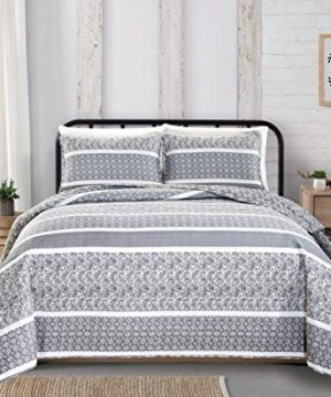 Reversible-Paisley-Striped-Bedspread-FullQueen-Size-Quilt-with-2-Shams-3-Piece-Reversible-All-Season-Quilt-Set-Grey-Quilt-Coverlet-Bed-Set-Kadi-Collection-0-0