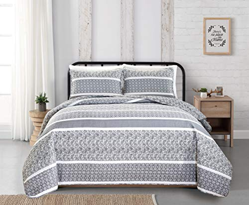 Reversible Paisley Striped Bedspread, Bedspread Size For Queen Bed
