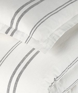 Rivet Maxwell Washed Stripe Duvet Cover Set Full Or Queen White With Grey Stripe 0 0 300x360