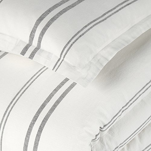 Rivet Maxwell Washed Stripe Duvet Cover Set Full Or Queen White With Grey Stripe 0 0