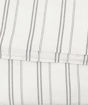 Rivet Maxwell Washed Stripe Duvet Cover Set Full Or Queen White With Grey Stripe 0 1 300x360