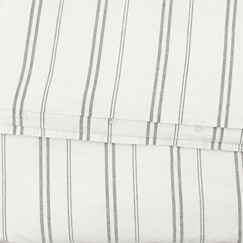 Rivet Maxwell Washed Stripe Duvet Cover Set Full Or Queen White With Grey Stripe 0 1