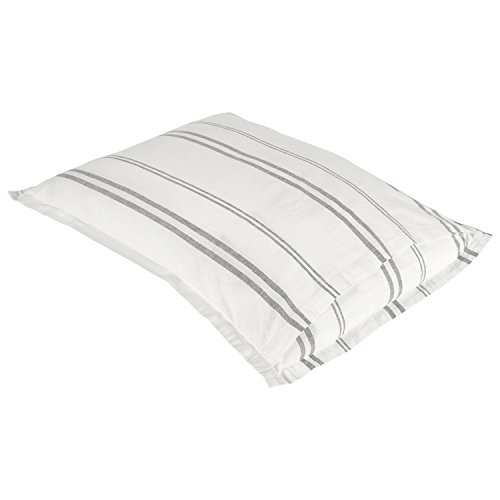 Rivet Maxwell Washed Stripe Duvet Cover Set Full Or Queen White With Grey Stripe 0 2