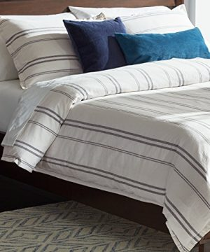 Rivet Maxwell Washed Stripe Duvet Cover Set Full Or Queen White With Grey Stripe 0 4 300x360