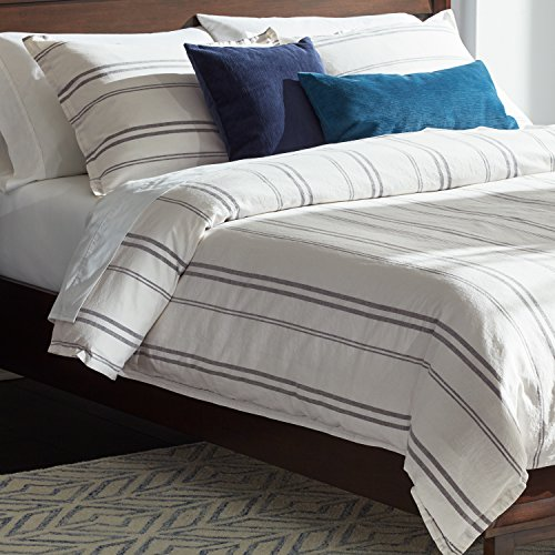 Rivet Maxwell Washed Stripe Duvet Cover Set Full Or Queen White With Grey Stripe 0 4