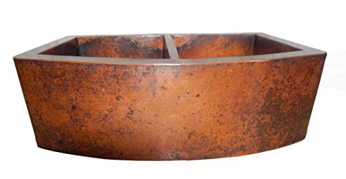 Rounded Apron Front Farmhouse Kitchen Double Bowl Mexican Copper Sink 5050 0 0