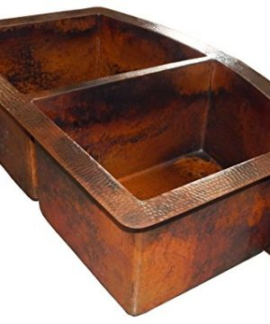 Rounded Apron Front Farmhouse Kitchen Double Bowl Mexican Copper Sink 5050 0 1 300x360