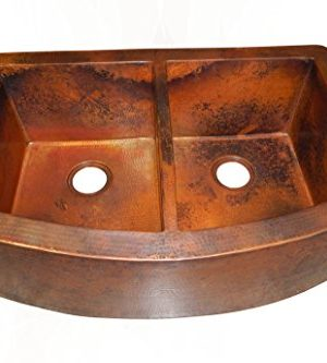 Rounded Apron Front Farmhouse Kitchen Double Bowl Mexican Copper Sink 5050 0 300x333