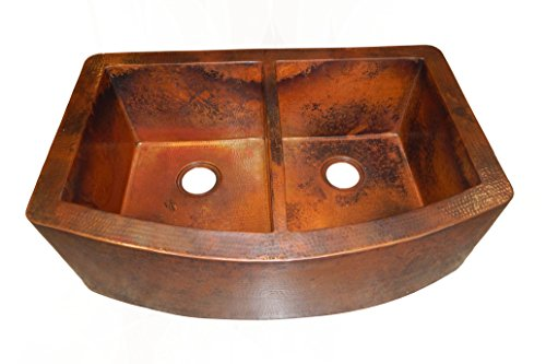 Rounded Apron Front Farmhouse Kitchen Double Bowl Mexican Copper Sink 5050 0