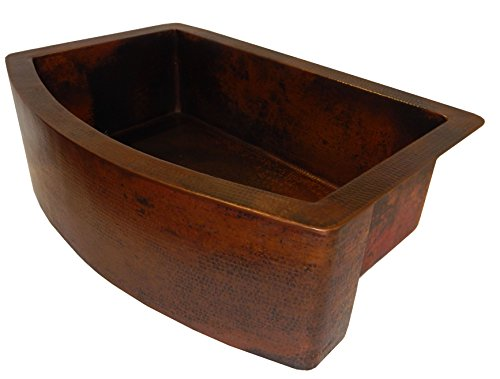 Rounded Apron Front Farmhouse Kitchen Single Bowl Mexican Hammared Copper Sink 0 0