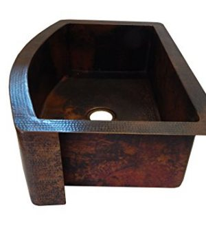 Rounded Apron Front Farmhouse Kitchen Single Bowl Mexican Hammared Copper Sink 0 1 300x360