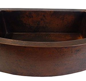 Rounded Apron Front Farmhouse Kitchen Single Bowl Mexican Hammared Copper Sink 0 2 300x282