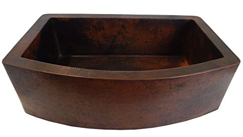 Rounded Apron Front Farmhouse Kitchen Single Bowl Mexican Hammared Copper Sink 0 2