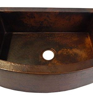 Rounded Apron Front Farmhouse Kitchen Single Bowl Mexican Hammared Copper Sink 0 300x305