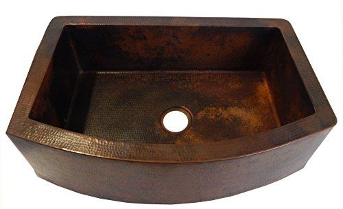 Rounded Apron Front Farmhouse Kitchen Single Bowl Mexican Hammared Copper Sink 0
