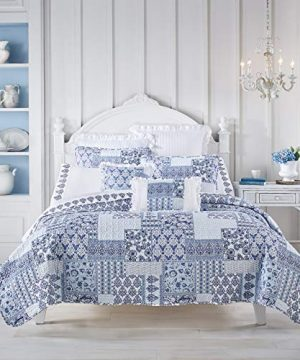 Royal Court Tessa Farmhouse Patchwork 3 Piece Quilt Set Navy King 104x90 0 300x360
