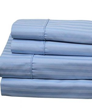 Royal Hotel 620 Thread Count Sheet Set Wrinkle Free Cotton Blend Sheets Sateen Striped Deep Pocket Queen Size Blue 0 300x360