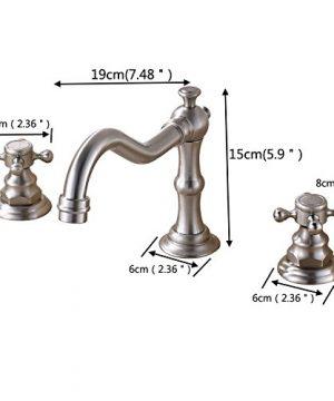 Rozin Widespread 3 Holes Bathroom Sink Faucet Dual Cross Knobs Vanity Mixing Tap Brushed Nickel 0 0 300x360