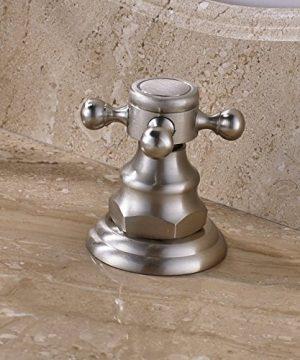 Rozin Widespread 3 Holes Bathroom Sink Faucet Dual Cross Knobs Vanity Mixing Tap Brushed Nickel 0 1 300x360