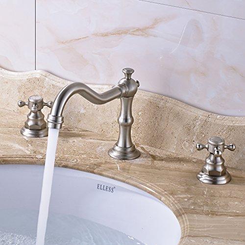 Rozin Widespread 3 Holes Bathroom Sink Faucet Dual Cross Knobs Vanity Mixing Tap Brushed Nickel 0 3