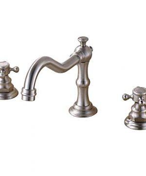 Rozin Widespread 3 Holes Bathroom Sink Faucet Dual Cross Knobs Vanity Mixing Tap Brushed Nickel 0 300x360