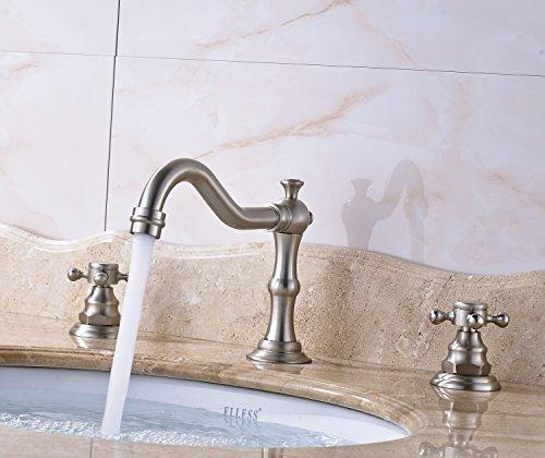 Rozin Widespread 3 Holes Bathroom Sink Faucet Dual Cross Knobs Vanity Mixing Tap Brushed Nickel 0 4