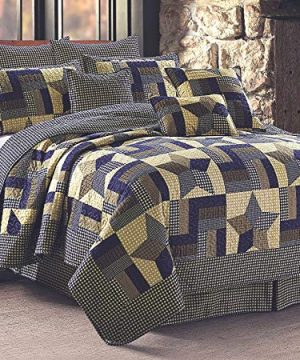 Rustic Blue And Brown Farmhouse Primitive Woodland Star 3pc FullQueen Size Quilt Set 0 0 300x360
