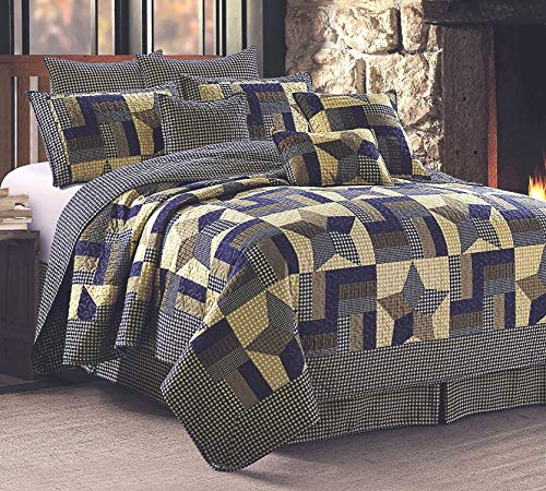 Rustic Blue And Brown Farmhouse Primitive Woodland Star 3pc FullQueen Size Quilt Set 0 0