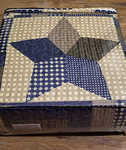 Rustic Blue And Brown Farmhouse Primitive Woodland Star 3pc FullQueen Size Quilt Set 0 1