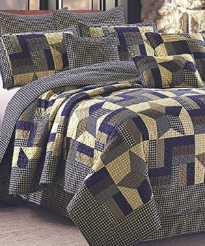 Rustic Blue And Brown Farmhouse Primitive Woodland Star 3pc FullQueen Size Quilt Set 0 300x360