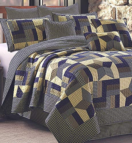 Rustic Blue And Brown Farmhouse Primitive Woodland Star 3pc FullQueen Size Quilt Set 0
