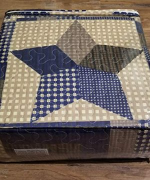 Rustic Blue And Brown Farmhouse Primitive Woodland Star 3pc FullQueen Size Quilt Setm BROWN BARN STAR 0 0 300x360