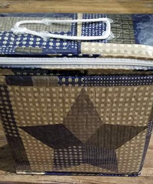 Rustic Blue And Brown Farmhouse Primitive Woodland Star 3pc FullQueen Size Quilt Setm BROWN BARN STAR 0 1 300x360